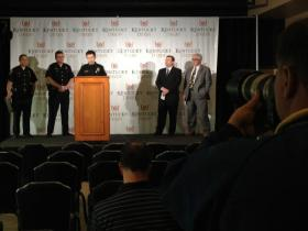 Churchill Downs officials, Louisville Metro Police and others discuss security plans for the Kentucky Derby and Oaks.