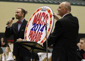 Macy's Parade official Wesley Whatley, left, invited Lexington's Paul Laurence Dunbar High School Marching Band and Director Jeff Hood, right, to the 2014 Macy's Thanksgiving Day Parade on Thursday.