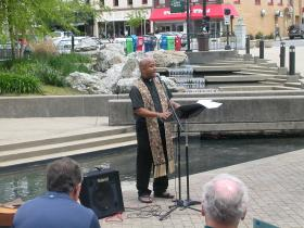 Father Norman Fisher participates in National Day of Prayer event in downtown Lexington
