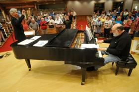 During a rehearsal Tuesday for this weekend's Lexington Singers pops concerts, Jay Flippin was at the piano, accompanying the group as Jefferson Johnson conducted. Flippin, the group's longtime keyboardist and arranger, will be honored at the pops concerts.