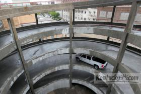 A truck drove down the exit ramp after the Helix Garage reopened at 7 a.m. Monday at 150 East Main Street in Lexington. The former Annex Garage, renamed the Helix Garage for its spiraling exit ramp, had been closed since November for a $3.1 million restoration project. A 50 percent discount is available for motorists who get their tokens validated at the Urban County Government Center, the Phoenix Building or the Kentucky Theatre