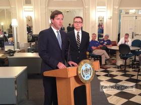 State Auditor Adam Edelen, with Lexington Mayor Jim Gray to his right, announced the results of an audit conducted on HealthFirst's finances during a press conference Thursday. The audit began in May at the request of Gray and amid concerns about construction of a clinic at 496 Southland Drive.