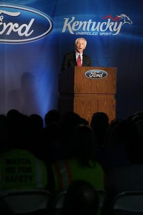 Gov. Steve Beshear and Louisville Mayor Jerry Abramson join Ford Motor Company executives and employees at the Louisville Assembly Plant (LAP) to celebrate the company's planned $600 million investment.
