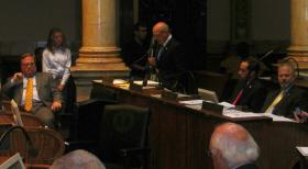 Senator Joe Bowen speaks on the Senate floor during Friday's debate on redistricting.