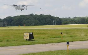 Military aircraft takes off from Frankfort's Capitol City Airport.