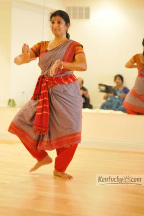 Lakshmi Sriraman, a Lexington based Bharatanatyam performer, teacher and choreographer, rehearsed for a performance Saturday at Singletary Center for the Arts.
