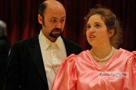 "Lord Windermere (Scott Hiner) tries to persuade Lady Windermere (Liz Maines) that there has been a misunderstanding. Bluegrass Opera presents Lorne Dechtenberg's ""Lady Windermere's Fan,"" based on the play by Oscar Wilde, Aug. 23 and 24 at the Lexington Opera House, 401 West Short Street in Lexington, Kentucky."