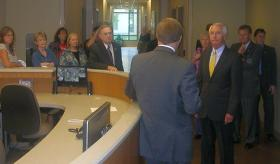 Governor Steve Beshear on a public tour of Lexington's new Eastern State Hospital.