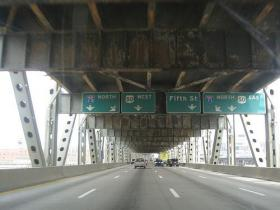 Interstates 75/71 as they pass over the Brent Spence Bridge from Northern Kentucky and into Cincinnati.