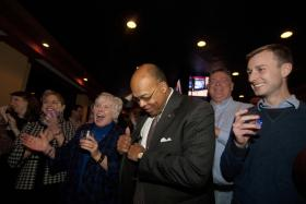 Thomas and his supporters celebrate the senatorial win