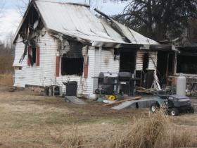 The scene of Thursday's house fire in Muhlenberg County