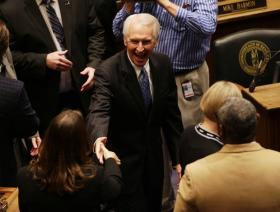 Gov. Steve Beshear entered the House of Representatives to give his State of the Commonwealth Address at the Kentucky State Capitol on Jan. 7, 2014, in Frankfort.