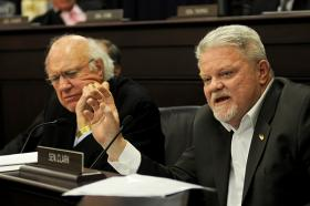FRANKFORT— Sen. Perry Clark, D-Louisville, speaks during a meeting of the Senate Health and Welfare Committee.