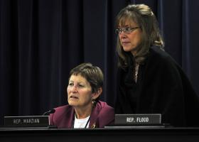 FRANKFORT— Rep. Mary Lou Marzian, D-Louisville (left), and Rep. Kelly Flood, D-Lexington, follow testimony during a meeting of the House Health and Welfare Committee.