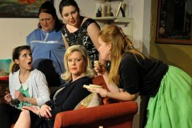 The cast of Sealed for Freshness features, clockwise from left, Annie Barbera as Tracy Ann, Abby Reeve as Sinclair, Kathryn Newquist as Jean, Esther Harvey as Bonnie and Allie Darden as Diane. The Actors Guild of Lexington production runs through Jan. 25.
