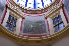 A mural depicting the tobacco harvest has been in the rotunda of the Bourbon County Courthouse in Paris for more than 100 years.