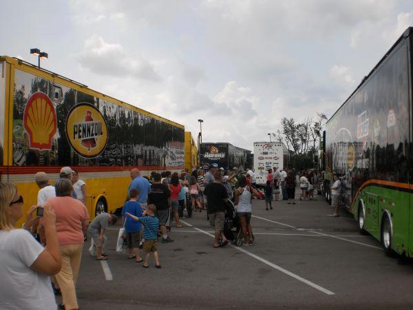 Fans found themselves between two Nascar haulers in Lexington Wednesday.