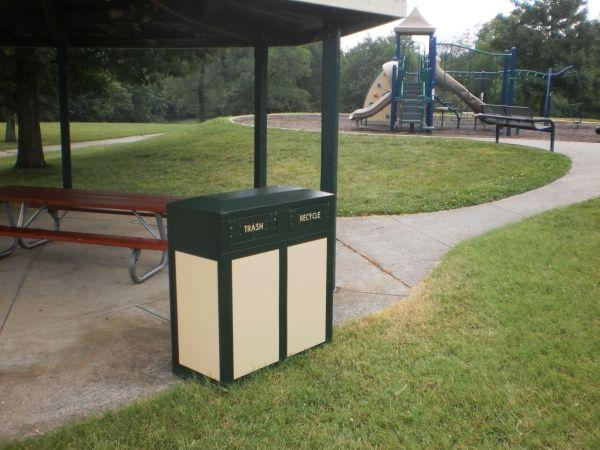 New recycling-waste container at Waverly Park in Lexington