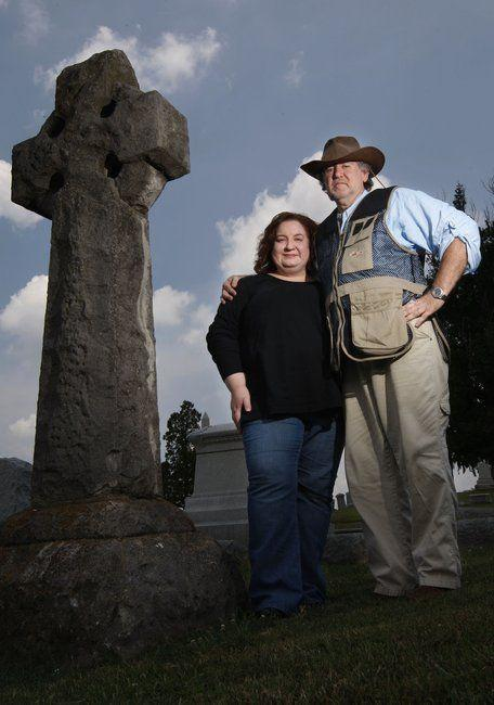 Ron and Lori Coffey, at Machpelah Cemetery in Mount Sterling, are members of Gateway Paranormal Society. The group looks for reasons before they look for ghosts.