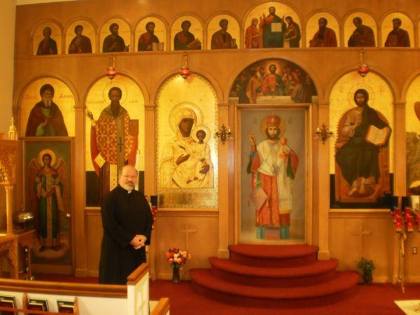 Father George Wilson in the Front of the Greek Orthodox Church on Tates Creek Road