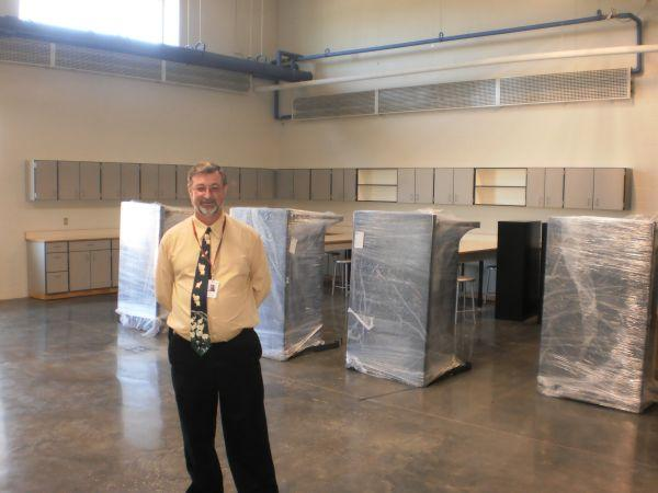 Principal Joe Norman in a brand new lab setting at Locust Trace farm
