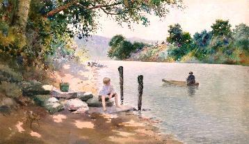 Paul Sawyier (American, 1865–1917), Riverbank Scene, Watercolor on paper mounted on board