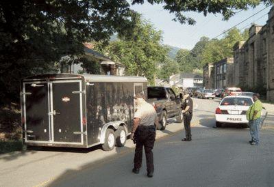 A Harlan County Hazmat trailer arrived at the site of a chemical explosion on Main Street in Lynch on Monday evening. Several individuals were injured in the incident.