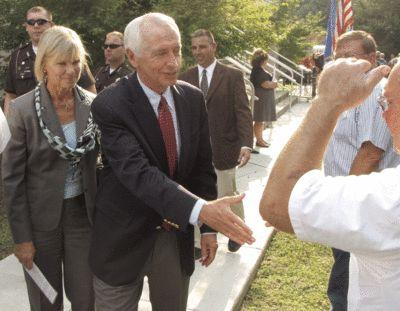 Gov. Steve Beshear and First Lady Jane Beshear greeted visitors during the coal and rail event.