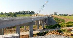 Workers are hoping to complete the bridge over Clark's Run Road in the next four weeks.