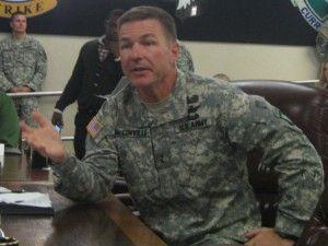 Maj. Gen. James McConville, commander of Fort Campbell, speaks Friday on post.