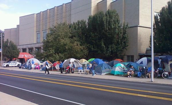 Tents have already sprung up outside UK's Memorial Coliseum for the annual Big Blue Madness ticket distribution which doesn't start until Saturday morning.
