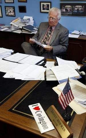 Covington Mayor Denny Bowman at work in his office two years ago.