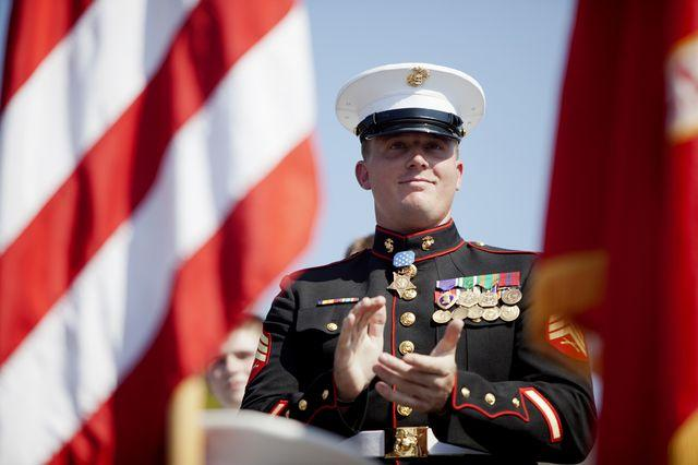 Marine Sgt. Dakota Meyer, who was awarded the Medal of Honor on Thursday, was grand marshal for Greensburg's Cow Days Parade on Saturday.