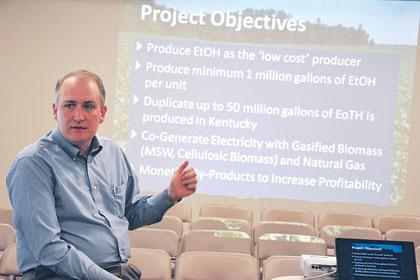 Patriot BioEnergy partner Roger Ford speaks to local leaders about the possibility of a facility in Whitley County that would turn bioengineered sugar beets into fuel.