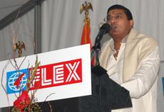 Pradeep Tyle, CEO of Flex Films, describes his expectations of success for the company's newest manufacturing plant, which is under development off Black Branch Road in Elizabethtown. A ceremony to celebrate the $180 million investment and 250 potential j