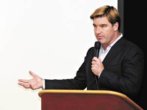 Kentucky Attorney General Jack Conway speaks Tuesday to Greenwood High School students about the dangers of prescription drugs.