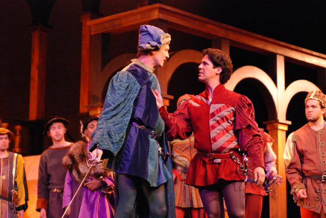 Tybalt (Adam von Almen) and Roméo (Manuel Castillo) have words before they fight in the University of Kentucky Opera Theatre production of Roméo et Juliette. Castillo plays Roméo in the second and third shows. Gregory Turay has the role in the other two.