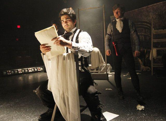 In The Tales of Edgar Allan Poe, Jim Short, left, plays the title role, and Michael Whitten plays many roles. The Lexington Children's Theatre production incorporates three Poe stories.