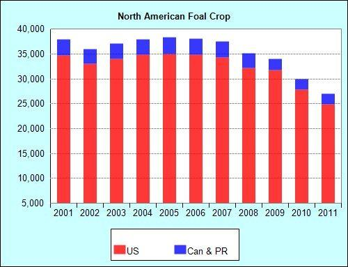 ANNUAL NORTH AMERICAN REGISTERED FOAL CROP.