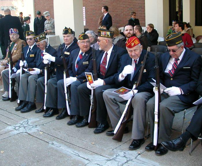 Veterans at ease in front of Powell Student Center at Eastern Kentucky University in Richmond.