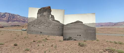 Rock Formations on the Road to Lee's Ferry, AZ: Mark Klett and Byron Wolf used digital photo processing to impose historical landscape photos onto modern photos that they shot from almost precisely the same spot.