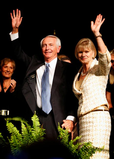 Governor Steve Beshear and First Lady Jane after winning the election at the Frankfort Convention Center for the Democratic election party on Tuesday November 8, 2011 in Frankfort, Ky.