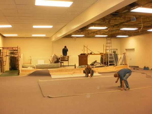 Workers helped with the transition from bar to church a few weeks ago.