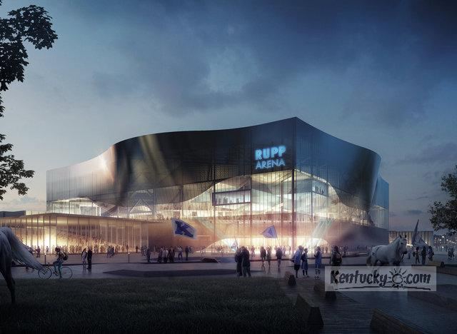 This rendering shows a conceptual view of Rupp Arena from the outside. The project involving Rupp and the surrounding area would take 10 to 20 years.