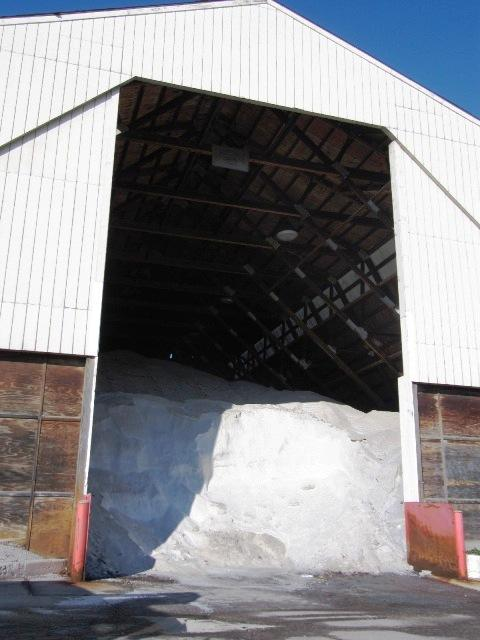 About 3,000 tons of salt is stored at a barn at the Streets and Roads maintenance facility on Old Frankfort Pike.