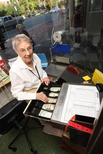 Lee Overstreet on the job in the Kentucky Theatre box office in 2008.