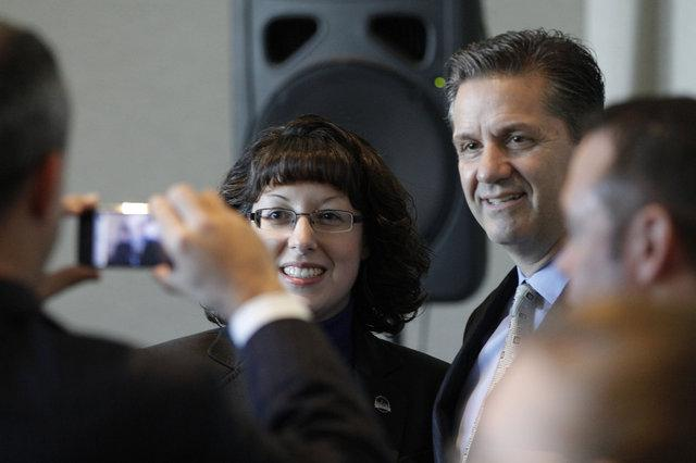 Rep. Sara Beth Gregory, R-Monticello, was one of several legislators who posed for pictures with UK head basketball coach John Calipari on Thursday at the Kentucky History Center in Frankfort.