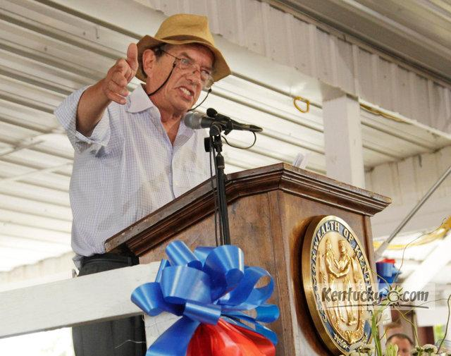 Gatewood Galbraith, an independent candidate for governor criticized Gov. Steve Beshear's speech at the Fancy Farm Picnic in Fancy Farm, Ky., on Saturday, Aug. 6, 2011.