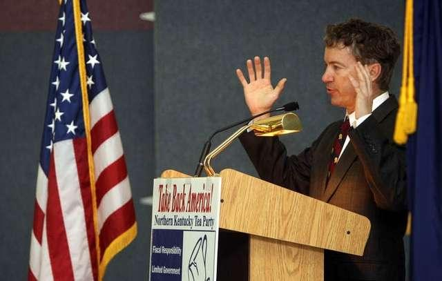 Sen. Rand Paul speaks at a Town Hall meeting in at the Calvin Perry Community Center in Alexandria. About 200 people attended the event.