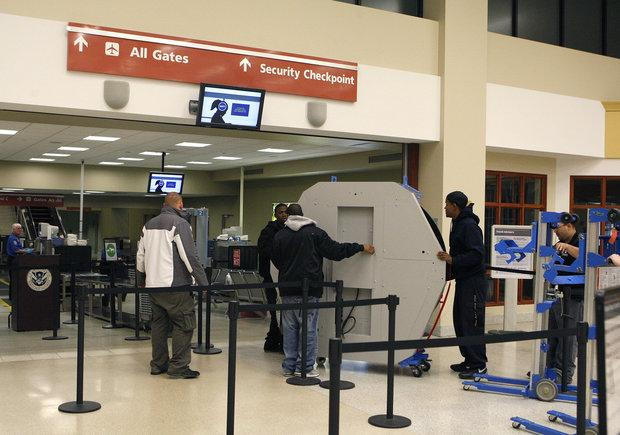 A crew delivered a body scanner to the security checkpoint at Blue Grass Airport on Monday. It will be installed this week and should be fully operational by early next week.